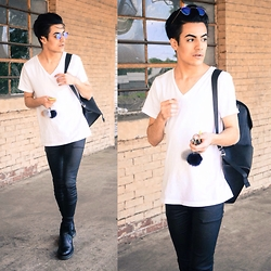 Armando Maldonado - V Neck T Shirt, Leather Look Pants, Chelsea Boots - F**k With U