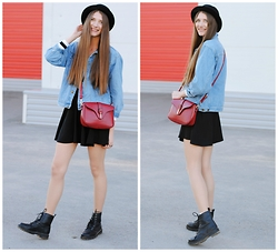 Yulia Sidorenko - Oasap Sweater, Oasap Bag, H&M Skirt, H&M Boots, H&M Hat - Back to school