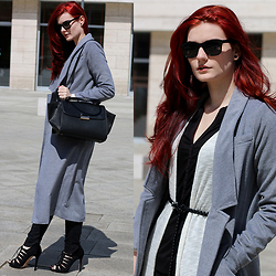Tia T. - Sheinside Coat, Mango Trapeze Bag, H&M Lace Up Boots, Vila Long Cardigan - Spring in Hungary