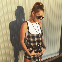 Brittany Shae - Somedays Lovin' Plaid Jumper, Wanderlust Fashion Sea Urchin Spine Necklace - Posted in Plaid