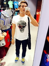 Jayson Cagungun - Art Work T Shirt, Timex Watch, Folded And Hung Pants, New Balance Sneakers, Iphone Phone - Window Shopping