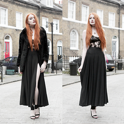 Olivia Emily - Old Faux Fur Coat, Asos Lace Bra, Rosamosario Lace Body, Black Milk Clothing Sheer Split Maxi Skirt, Unif Pyre Heels - Sunday Best.