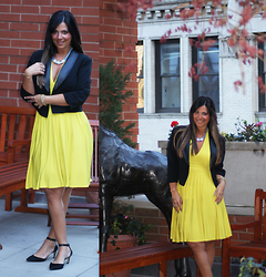 Jaclynn Brennan - Victoria's Secret Yellow Halter Dress, Forever 21 Leather Trimmed Cropped Blazer, Enzo Angiolini Pointy Toe Kitten Heels, H&M Leather Cable Necklace - Rooftop Rendezvous