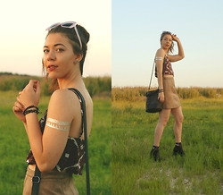 Hope Bidinger - Missguided Cami Top, Missguided Faux Suede Skirt, Missguided Black Booties, Missguided Black Studded Bag, Missguided Retro Sunglasses, Missguided Temporary Tattoos - MISSGUIDED Festival