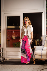 Elena Barolo - 7 For All Mankind Leather Vest, Topshop Tshirt, Piccionepiccione Pleated Skirt, Shourouk Necklace, Gianmarco Lorenzi Sandals - Fuchsia