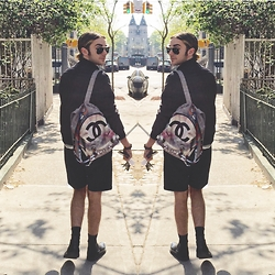 Stevey Murray - Chanel Graffiti Backpack, Rag & Bone Jacket, Theory Black Shorts, Underground Shoes Ponyhair Creepers - Mondays...