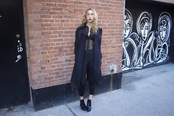 Jade Taylor-Allred - Zara Boots, Topshop Suit Set, Topshop Mesh/Lace Button Up, Alexander Wang Leather Banded Bra, Theory Trench Coat, Alexander Wang Bag, H&M Jewelry - NY Chic