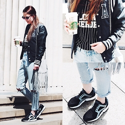 Paulina Bednarek - Adidas Baseball Jacket, Zara Bag, Adidas Racer Lite Shoes, Local Heroes Tee, Big Star Vintage Boyfriend Jeans - Making noise so I know you're there
