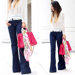 Macarena Ferreira - J Brand Jeans, Ted Baker Scarf, Saint Laurent Purse - 70's chic.