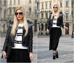 Estelle Fashion - Front Row Shop Skirt, Sheinside Jacket, Front Row Shop T Shirt - City rock look