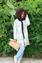 Kiani Iman - J.O.A Plaid Coat, H&M Denim Trouser, Zara Knit Tank Top, American Apparel Leather Clutch, Ecote Ponyhair Clogs - 5.6.15