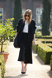 Christine R. - Ganni Jacket, Cos High Waisted Culottes, Cos Leather Bag, Tamara Mellon Shoes - High-waisted