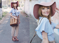 Chloe From The Woods - H&M Pink Fedora Hat, H&M Baby Blue Blouse, Mango Brown Bucket Bag, H&M Platform Sandal - Spring Glint
