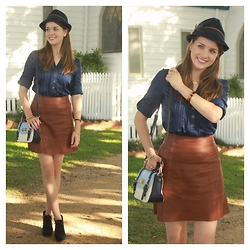 Heidi Landford - Zara Skirt, Forever New Bag, Forever New Shirt, Ted Baker Bangle, Kate Spade Bangle, Unknown Boots, Samantha Wills Necklace, Unknown Hat - A Feather In My Cap