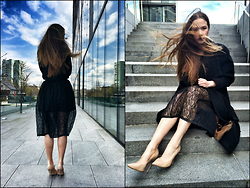 Braidsandeyeliner - Vintage Skirt, Buffalo Shoes Heel, Coat - Slovenia