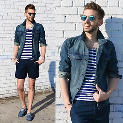 Aaron Wester - Call It Spring Boat Shoes, Banana Republic Denim Jacket, Club Monaco Shorts, H&M T Shirt - Weekender