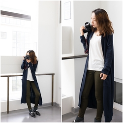 Lindsey Chen - Acne Studios Jeans, Charles & Keith Loafer, Asos Cardigan, Uniqlo Tee - Style for a shoot