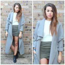 Jessica Sheppard - Pretty Little Thing Waterfall Coat, Missguided Knitted Crop, Pretty Little Thing Kylie Wrap Skirt, Firetrap Quill Boots - THE KIM K COAT.