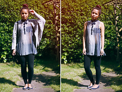 Moira Parton - Marled Grey Knitted Cardigan, Primark Loose Sleeveless Striped Top, H&M Black Leggings, Forever 21 Black Shoulder Bag, Primark Navy Blue Flats - 120808 — STRIPED BUN