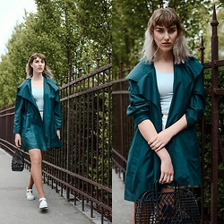 Agnes Krown - Vintage Trench Coat, Vintage Top, Shiny Skater Skirt, H&M Plastic Bag, Juju Plastic Jellies - Light as a feather