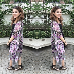 Isnery T. ♡ - Forever 21 Black Skater Dress, Patrons Of Peace Kimono, Mossimo Strappy Heeled Sandals - Kaleidoscopic Colors