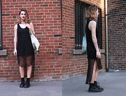 Solveig - Lush Mesh Dress, Dr. Martens Boots - BLACK.