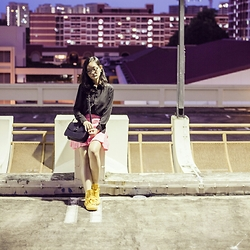 Ren Rong - Zalora Lace Yoke Blouse, Juicy Couture Neon Pink Leopard Skirt, Zalora Handbag, Converse Rubber Chuck Taylors - Shine in the Night Time