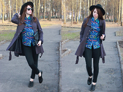 Anna Aleshina - Asos Sunglasses, Asos Shirt, Sheinside Envelope Bag, H&M Hat, Asos Mac, Pieces Jeggings, New Look Brogues - Geometry