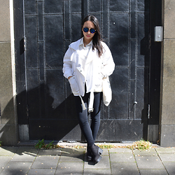 Diana Nguyen - Yesstyle White Denim Jacket, Vagabond Chunky Boots, Yesstyle Sunglasses - Don't wear white when getting tatted.