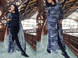 Ka Martins - H&M Black Cashmere, Black Leggings, H&M Kimono / Dress, Accessorize Black Bag, Jorge Alex Black Boots - Luz Station