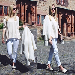 Somehappyshoes - Mango Sweater, Hugo Boss Pants, H&M Coat, Plaza Espadrilles - White tones plus espadrilles