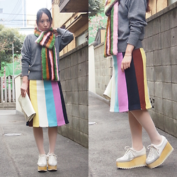 Yu Kuwabara - Toga Pulla Knitted Pullover, Muveil Multi Colored Stripe Fur Stole, Muveil Multi Colored Stripe Wool Skirt, Durbuy Wood Sole German Trainers - Stripes on Stripes