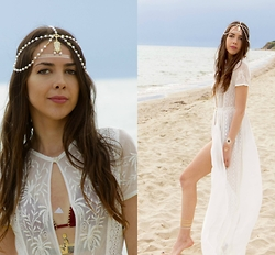 Blertina Shabani - Choies White Pearl Head Piece, Zara Lace Detail White Tunic - Goddess of the Beach.