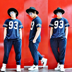 Rafa Concepcion - H&M Felt Fedora, Splash Matchy Top And Bottom, H&M Cutout Sneakers - Red+Blue=93
