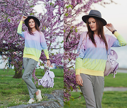 Viktoriya Sener - Sheinside Sweater, Sheinside Trousers, Tinydeal Backpack, Braska Brogues, H&M Hat - WATERCOLOR