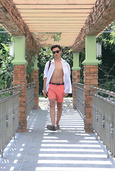 Jayson Santos - Shang Dibao Long White Button Down, Roca Shorts, Birkenstock Sandals - Last hurrah