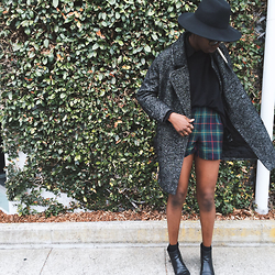 [ jessica ] - H&M Marbled Coat, Vintage Plaid Shorts, Zara Chelsea Boots, Madewell Black Crewneck Sweater, Madewell Black Silk Courier Shirt, Silence + Noise Black Long Brimmed Fedora - Monday in San Francisco