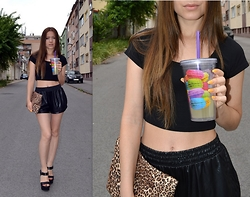Marija M. - Terranova Black Crop Top, New Yorker Black Faux Leather Shorts, Bershka Black Chunky Heels - Macaroons and leopard