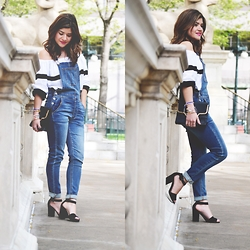 Carolina Hellal - American Eagle Outfitters Denim Everalls, Forever 21 Off The Shoulders Top - Denim overalls