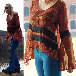 Heather Barnes - Band Of Gypsies Lace Trim Blouse, Topshop Moto Jamie Flared Jeans, Dr. Martens Jadon Boots - Double Flare