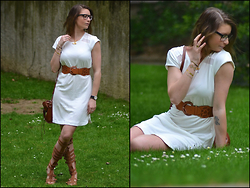 Joanna P. - Kiabi White Dress, Vj Style Bag, Just Fab Gladiator Shoes - Gladiator