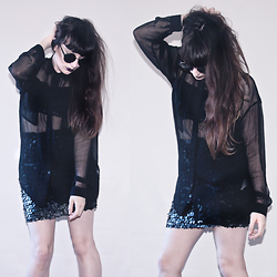 Amy Souter - Motel Rocks Layla Oversized Sheer Shirt In Black, Ebay Black Lace Bralet, Charity Shop Black Matt Sequin Skirt, Primark Round Black Sunglasses - Ain't Nothing But A Goth Thing