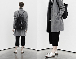 Mikko Puttonen - Weekday Wool Over Coat, Onar Backbag, Weekday Trousers, Acne Studios Shoes - Time out