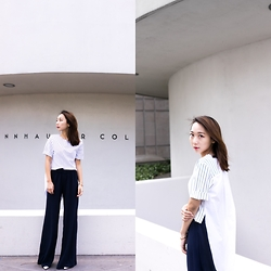Lindsey Chen - Zara Wide Leg Pants, Pine Collection Asymmetric Tee/Shirt - Guggenheim Museum