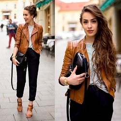 Markéta Bártová - Style Moi Brown Leather Bier Jacket, Oasap Black Crossbody, Frontrowshop Black Linen Trousers, Pull & Bear Brown Heeled Sandals - Is She Gon Pop