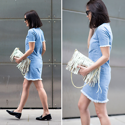 Anouska Proetta Brandon - Missguided Denim Dress, Rebecca Minkoff Fringe Bag, Office Loafers - Denim Dress
