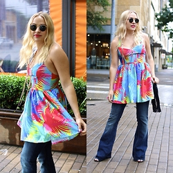 Kaley Beery - Genetic Denim Jeans, Rare Trends Dress, Deuz Lux Deux Fringe Bag, Ray Ban Rayban Sunglasses - Rare Trends Dress