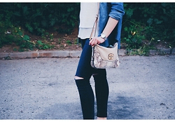 Silvia F. - Guess? Bag, Koton Shirt, Stradivarius Denim Shirt, C&A Ripped Jeans - Another Day