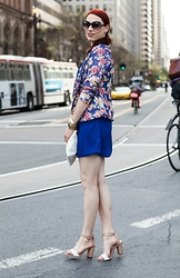 Caity Shreve - Piperlime Floral Blazer, Live Love Moda Cobalt Wrap Dress, Sam Edelman Nude Sandals - Spring Color Story