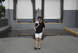 Jayson Santos - Boy London Black Leather Sleeves, Folded And Hung White Shorts, New Balance Sneaks, Ray Ban Leopard Sunnies, Uniqlo Grey Hoodie - Filmed